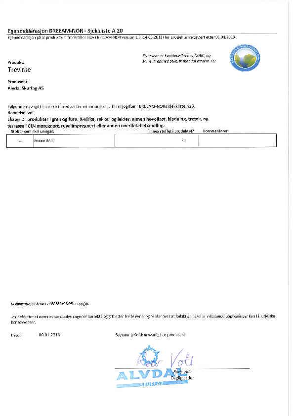 Egendeklarasjon A20 Breeam signert